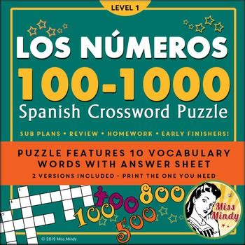 1000 images about teaching spanish los numeros spanish numbers 100 1000 crossword puzzle worksheet by miss mindy