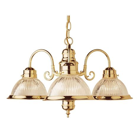 Bel Air Lighting Chandelier Bel Air Lighting Cabernet Collection 3 Light Polished Brass Chandelier With Clear Ribbed Shade