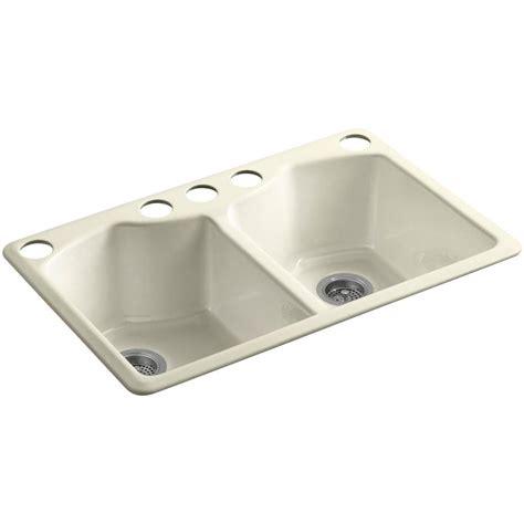 Kohler Kitchen Sink Accessories Kohler Bellegrove Undermount Cast Iron 33 In 5 Basin Kitchen Sink With Accessories
