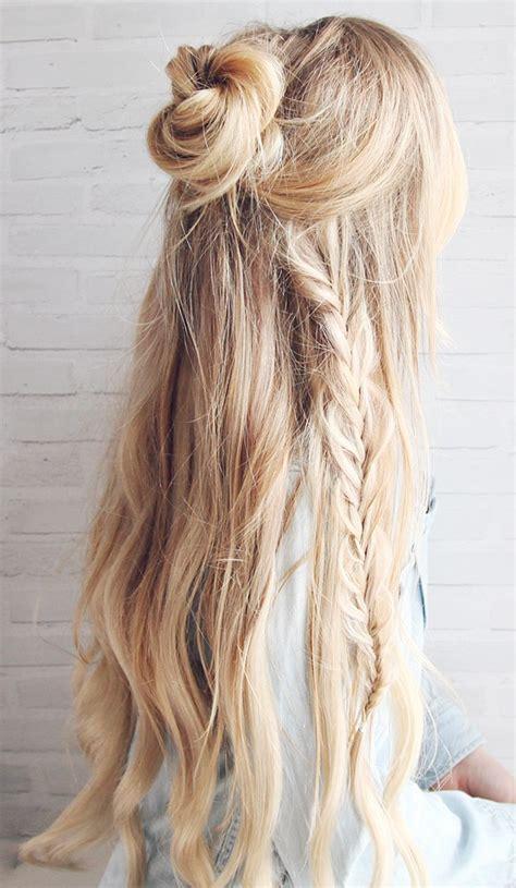 half up bun hairstyles tutorial half up boho braided bun hair tutorial kassinka