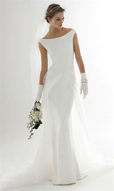 simple elegant wedding dress  older bride simple