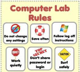 computer lab rules poster top half