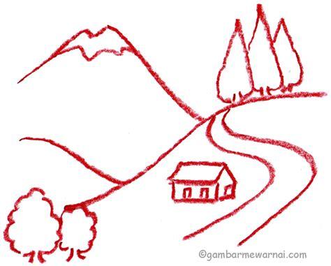 tutorial menggambar pemandangan belajar menggambar pemandangan gambar mewarnai