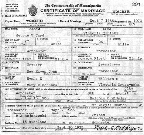 Worcester Ma Birth Records The Marriage Of George W Card And Izbicki 1935