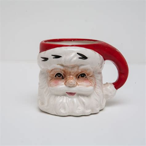 vintage ceramic porcelain santa claus face mug by