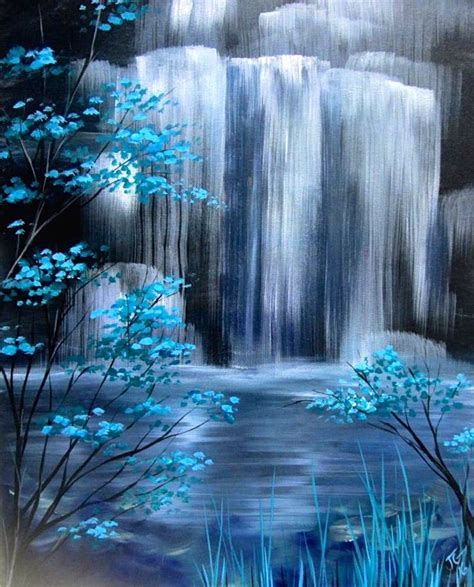 watered acrylic paint on canvas 25 unique waterfall paintings ideas on