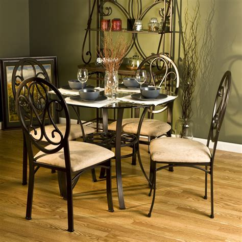 Decoration ideas inspiring cream leather pad in black iron dining chair with round glass dining