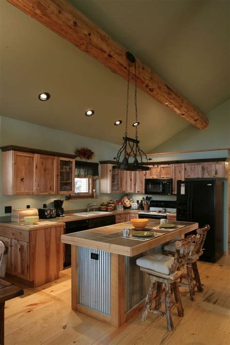 metal island kitchen log cabin kitchens with modern and rustic style