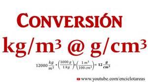 convertir kg m3 a g cm3