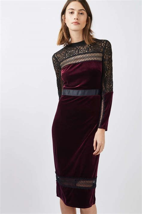 mixed lace velvet midi dress topshop