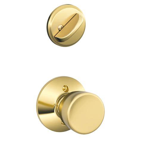 Schlage Interior Door Knobs Shop Schlage Bell 1 5 8 In To 1 3 4 In Bright Brass Single Cylinder Knob Entry Door Interior