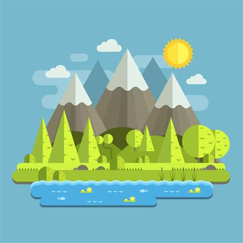 tutorial flat design illustrator how to create a mountain landscape in flat style in adobe