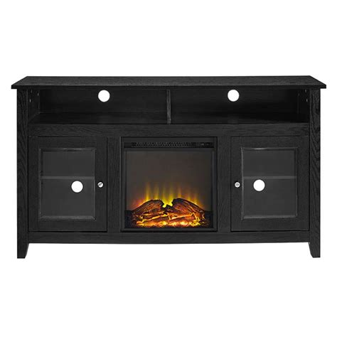60 Inch Tv Fireplace by Walker Edison Highboy Fireplace Tv Stand For 60 Inch Screens Black W58fp18hbbl
