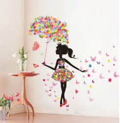 butterfly girl removable wall art sticker vinyl decal diy free shipping large size removable wall art stickers black