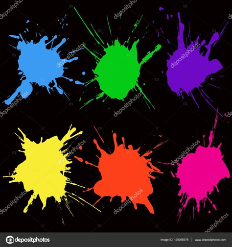 splat color paint color splat set abstract vector illustration