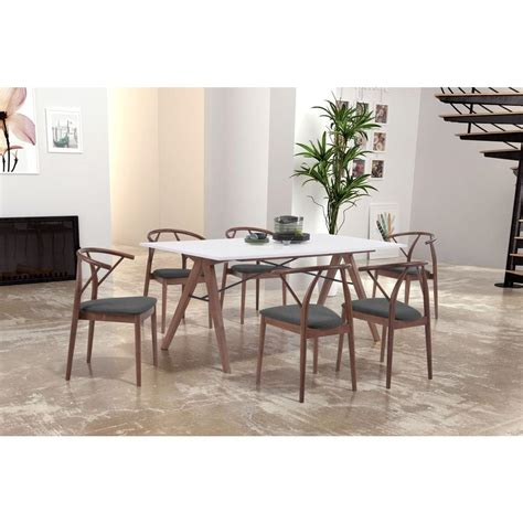 zuo saints walnut and white dining table 100143 the home