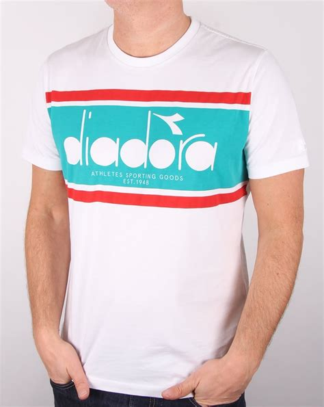 diadora logo t shirt white green ceramics s graphic