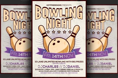 bowling night flyer template flyer templates on creative