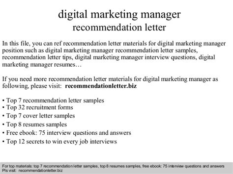 Recommendation Letter Marketing Digital Marketing Manager Recommendation Letter