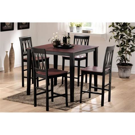 black counter height dining table and chairs promenade 5 pc espresso black finish counter height