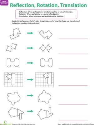 Identify The Transformation Worksheet by Reflection Rotation Translation Worksheet Education