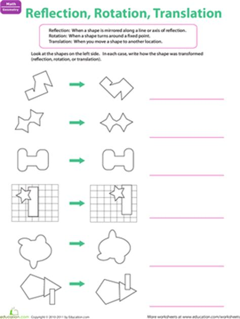 reflection rotation translation worksheet education com