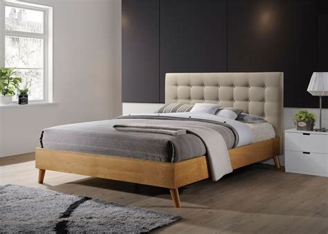 wood and fabric bed gino bed frame beige fabric oak wood king size 5ft 150cm
