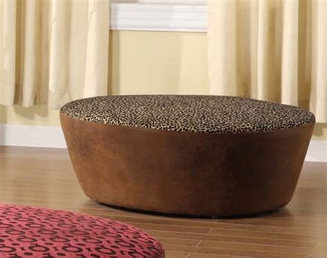 40 inch round ottoman armen living hostess 40in round ottoman in a leopard print