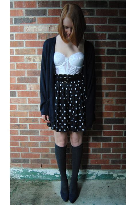 black polka dot thrift skirts charcoal gray knee high