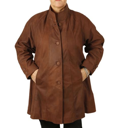 plus size swing coat plus size 22 24 3 4 length coco buff leather swing coat