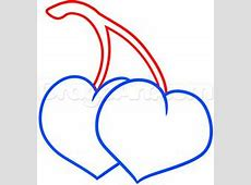 How to Draw Cherry Hearts, Step by Step, Food, Pop Culture ... Easy Drawings Of Hearts With Ribbons