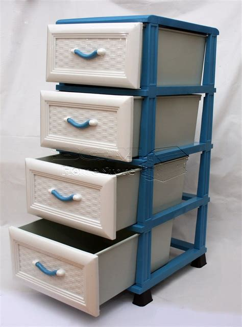 Plastic Chest Of Drawers Storage by Durable Blue Plastic Storage 4 Chest Of Drawers Unit Tower