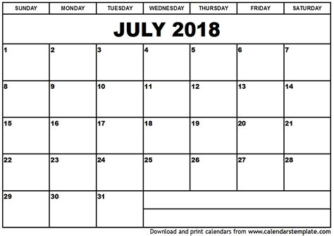 2018 calendar template printable july 2018 calendar template