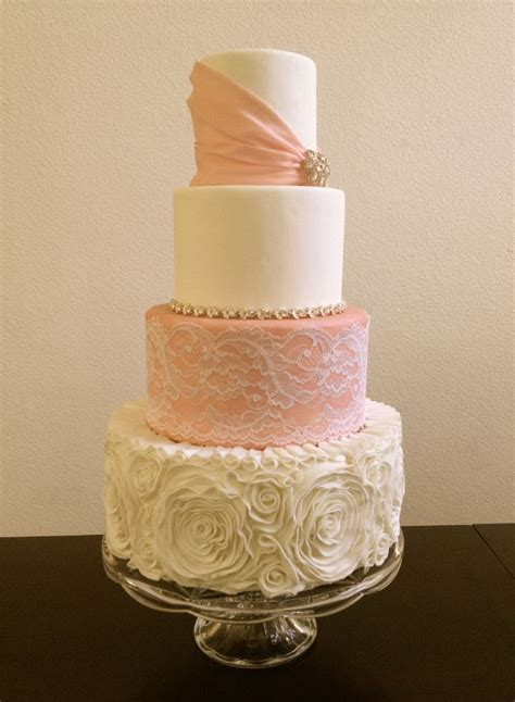 Glamorous country wedding cake. Fondant ruffles and lace