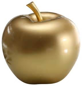 Gold apple sculpture contemporary decorative objects