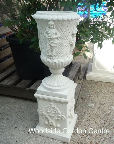 grecian urn stone pot planter plinth garden ornament