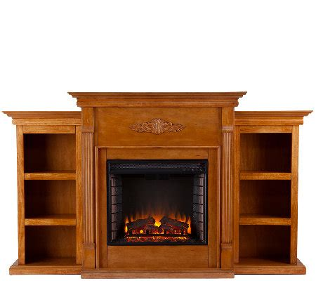 Pine Fireplace by Gilmore Glazed Pine Electric Fireplace W Bookcases Qvc