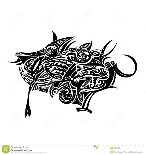 tribal boar tattoo tribal boar stock vector image of folk shape spiked