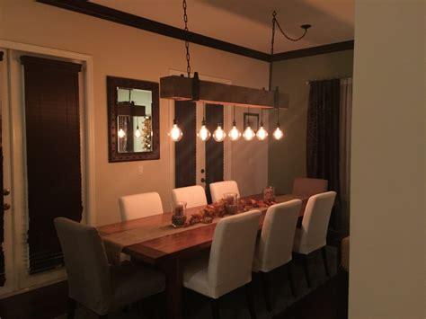 Rustic Kitchen Island Reclaimed Wood Beam Chandelier With Edison Globe Lights