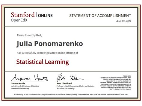 Stanford Post Mba Certificate by I Got Stat Learning Certificate From Stanford Big Bio Data