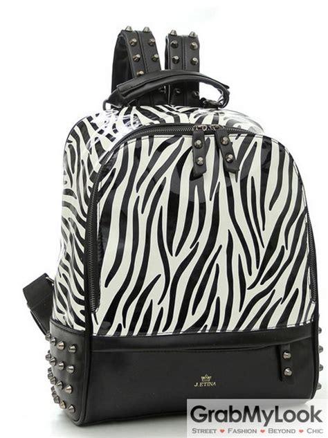 zebra pattern backpack black zebra pattern blunt metal studs punk rock gothic