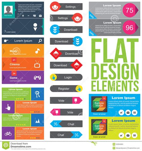 web design layout elements flat web design elements stock vector image of elements