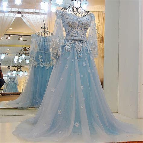 hochzeitskleid hellblau light blue wedding dresses lace wedding gowns elegant prom