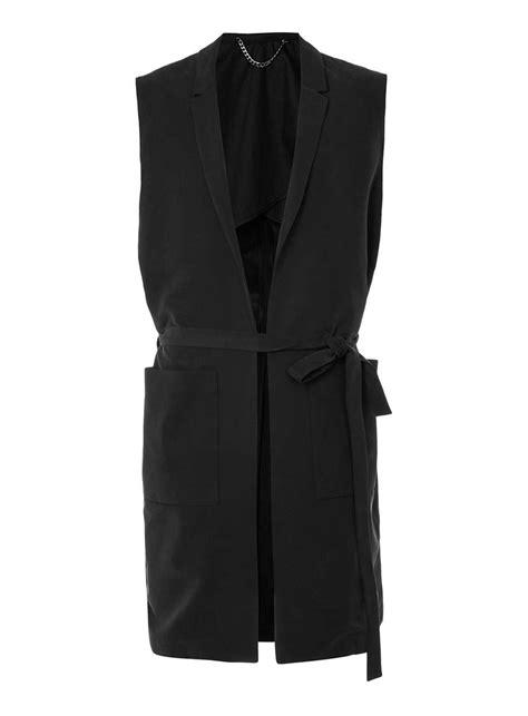 Sleeveless Trench Coat sleeveless trench coat topman tailor black