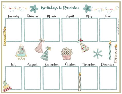 monthly birthday calendar template free birthday calendar
