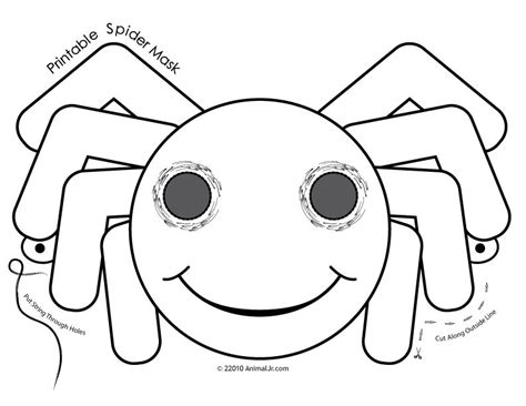 printable spider mask template free halloween masks coloring pages