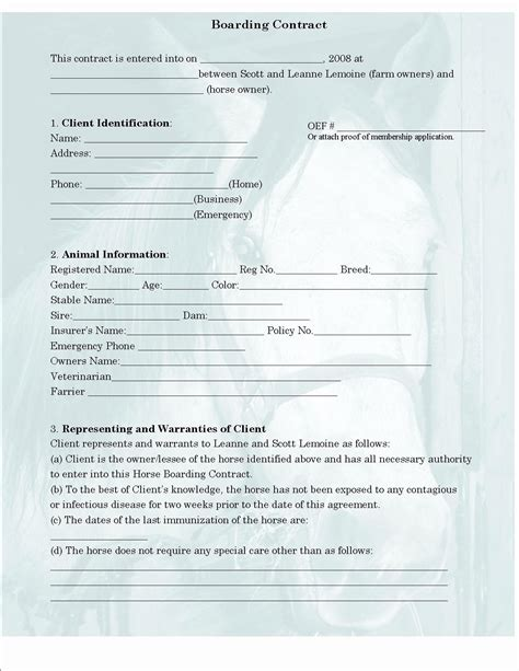 Horse Boarding Contract Template Qualads Boarding Contract Template