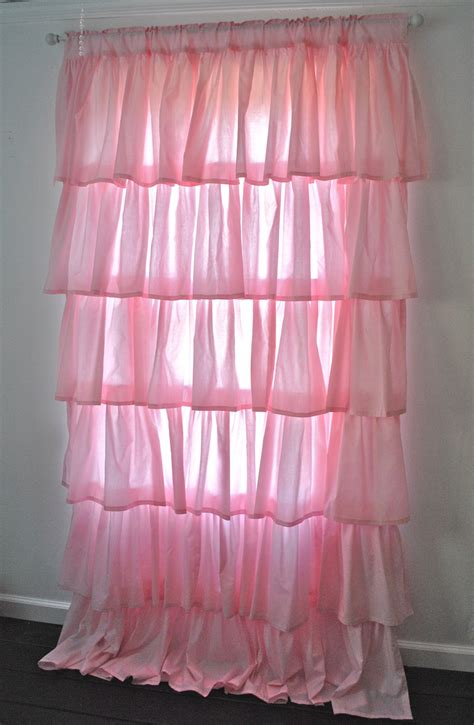 curtain shabby chic style bedroom pink ruffle etsy sheer