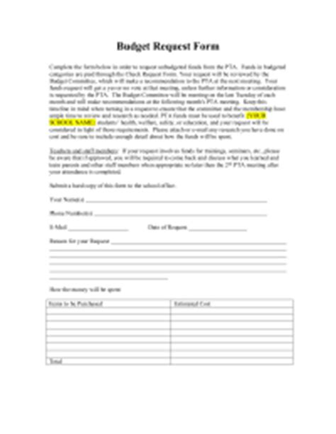 budget request form template treasurer forms pto today