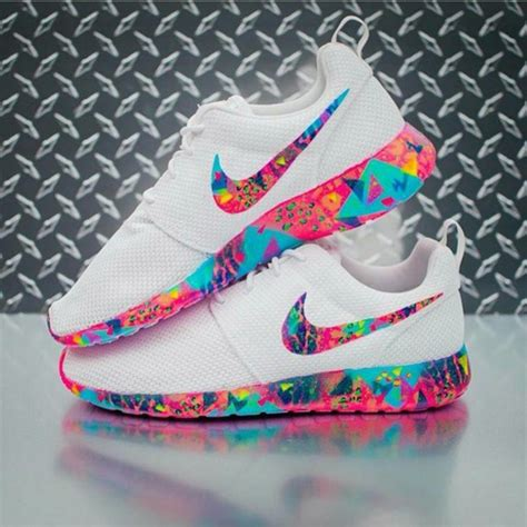 multi colored nikes shoes nike roshe runs colorful multicolor white